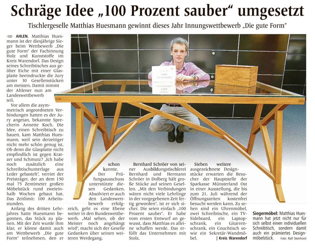 Tischlergeselle Matthias Huesmann gewinnt Innungswettbewerb
